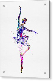 Ballerina Dancing Watercolor 2 Acrylic Print by Naxart Studio