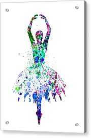 Ballerina Dancing Watercolor 4 Acrylic Print