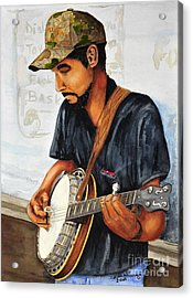 Banjo Player Acrylic Print by John W Walker