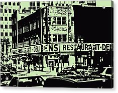 Ben's Resto Delicatessan Lunchtime Crowds And Traffic Jams Vintage Montreal Memorabilia Acrylic Print by Carole Spandau