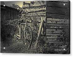 Acrylic Print featuring the pyrography  Bicycle by Evgeniy Lankin