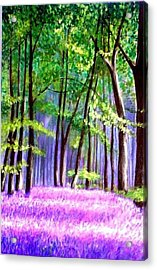 Acrylic Print featuring the painting  Bluebells Wood  by Marie-Line Vasseur