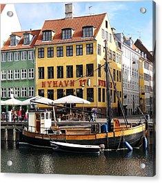 Boat In Nyhavn Acrylic Print by Richard Rosenshein