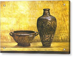 Bowl And Flower Pot Canvas Prints Acrylic Print by Canvas Champ