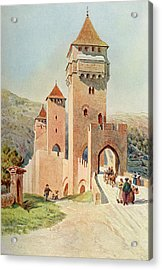 Cahors  Pont Valentre        Date 1904 Acrylic Print by Mary Evans Picture Library