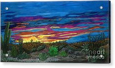 Acrylic Print featuring the painting  California Desert Sunset by Gary Brandes