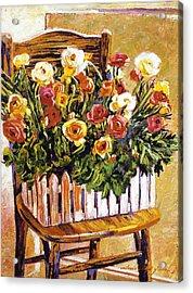 Chair Of Flowers Acrylic Print by David Lloyd Glover