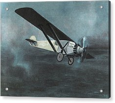 Charles Lindbergh Is The First  To Fly Acrylic Print by Mary Evans Picture Library