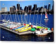 Charles River Sailboats Boston Acrylic Print by Ronald Bartels