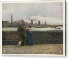 Chelsea Embankment On A Grey Day Acrylic Print by Mary Evans Picture Library