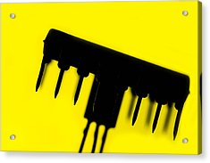 Circuit With Yellow Tone Acrylic Print by Tommytechno Sweden