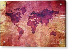 Acrylic Print featuring the digital art  Colorful World Map by Mohamed Elkhamisy