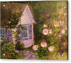 Cottage  In  The  Garden Acrylic Print by Beth Arroyo