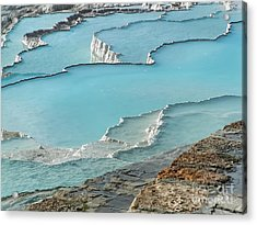 Cotton Castle Surrounded By Azure Pools Acrylic Print by Alexandra Jordankova