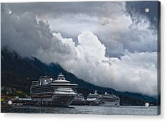 Acrylic Print featuring the photograph  Cruise Ships At The Dock. by Timothy Latta