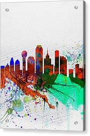 Dallas Watercolor Skyline Acrylic Print by Naxart Studio