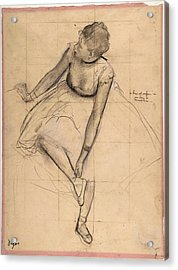 Acrylic Print featuring the drawing  	Dancer Adjusting Her Slipper by Edgar Degas