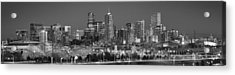Acrylic Print featuring the photograph  Denver Skyline At Dusk Black And White Bw Evening Extra Wide Panorama Broncos  by Jon Holiday