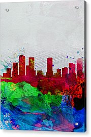 Denver Watercolor Skyline Acrylic Print