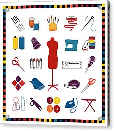 Do It Yourself Sewing Tailoring And Crafts Acrylic Print by J M Designs