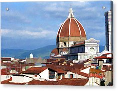 Acrylic Print featuring the photograph  Duomo Of Florence # 3 by Allen Beatty