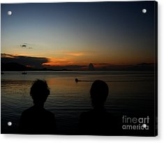Acrylic Print featuring the photograph  Enjoying Sunset by Michelle Meenawong