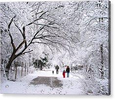 Family Walk In The Snow Acrylic Print