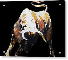 Fight Bull In Black Acrylic Print by J- J- Espinoza