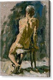 Figure Painting Male Nude Seated Original Oil On Canvas Acrylic Print