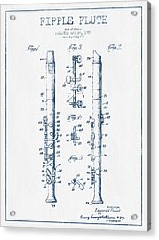 Fipple Flute Patent Drawing From 1959 - Blue Ink Acrylic Print by Aged Pixel