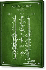 Fipple Flute Patent Drawing From 1959 - Green Acrylic Print by Aged Pixel