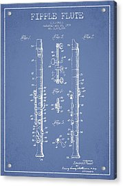 Fipple Flute Patent Drawing From 1959 - Light Blue Acrylic Print by Aged Pixel