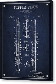 Fipple Flute Patent Drawing From 1959 - Navy Blue Acrylic Print by Aged Pixel