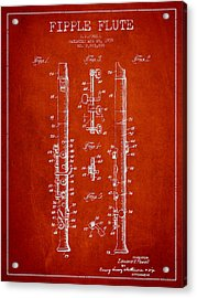 Fipple Flute Patent Drawing From 1959 - Red Acrylic Print by Aged Pixel