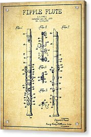 Fipple Flute Patent Drawing From 1959 - Vintage Acrylic Print by Aged Pixel