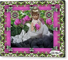 Flower Girl Upon Rocks Acrylic Print by Cibeles Gonzalez