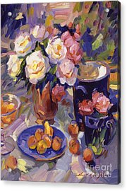 Flowers And Fruit At Montecito Acrylic Print by David Lloyd Glover