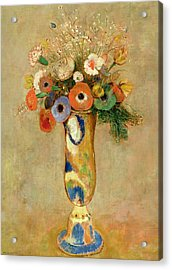 Flowers In A Painted Vase Acrylic Print