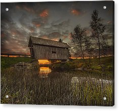 Foster Covered Bridge Sunset Acrylic Print