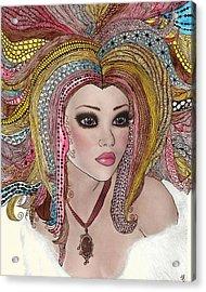 Girl With The Rainbow Hair Acrylic Print