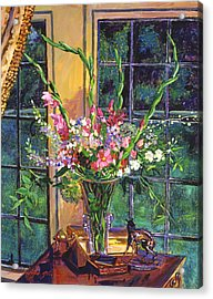 Gladiola Arrangement Acrylic Print by David Lloyd Glover