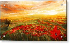 Glowing Rhapsody - Poppies Impressionist Paintings Acrylic Print