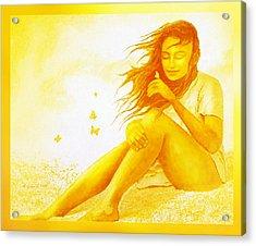 Golden  Butterfly  Girl Acrylic Print by Hartmut Jager