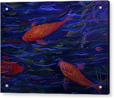 Acrylic Print featuring the painting  Golden Fish Koi by Yolanda Rodriguez