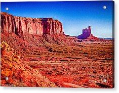 Golden Hour Sunrise In Monument Valley Acrylic Print by Bob and Nadine Johnston