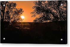 Hayfield At Night Acrylic Print