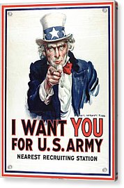 I Want You For The Us Army Recruitment Poster During World War I Acrylic Print by James Montgomery Flagg