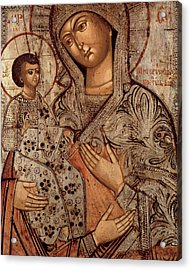 Icon Of The Blessed Virgin With Three Hands Acrylic Print by Novgorod School