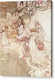 Illustration For A Fairy Tale Fairy Queen Covering A Child With Blossom Acrylic Print by Arthur Rackham