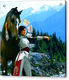 Acrylic Print featuring the painting  Joan Of Arc Visionary by Suzanne Silvir